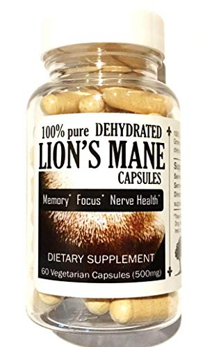 Oak Mushroom - Canopy Oaks Farm - Lion's Mane Mushroom Capsules, 100% Dehydrated Fruiting Bodies, Natural Supplement for Memory, Focus, and Nerve Health, Vegan, Gluten-Free, Made in USA, 60 Count