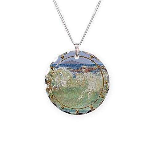 - CafePress NEPTUNE HORSES CLOCK 3 Charm Necklace with Round Pendant
