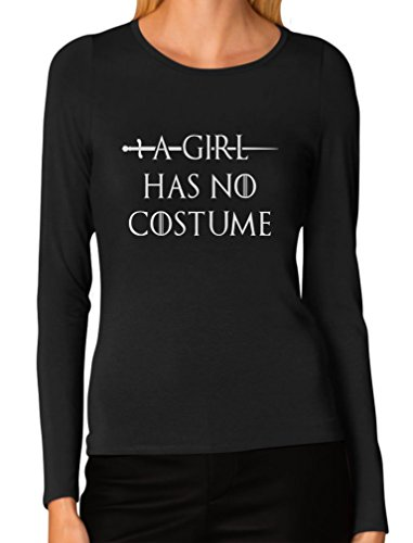 Funny Halloween Costumes Female (TeeStars - A Girl Has No Costume - Funny Halloween Women Long Sleeve T-Shirt Medium Black)