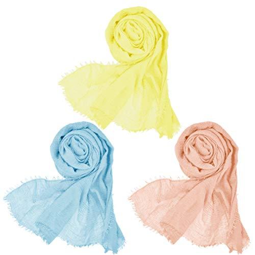 Wobe 3 Pcs Women Soft Cotton Hemp Scarf Shawl Long Scarves, Travel Sunscreen