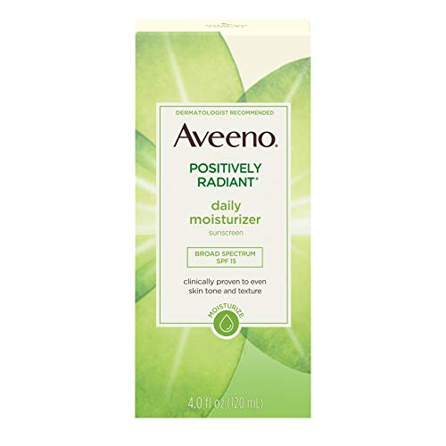 - Aveeno Positively Radiant Daily Face Moisturizer with Broad Spectrum SPF 15 Sunscreen and Soy Extract, 4 fl. oz