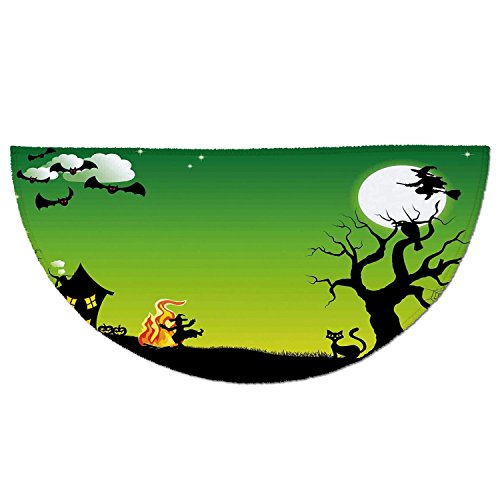 Half Round Door Mat Entrance Rug Floor Mats,Halloween Decorations,Witch Dancing with Fire at Halloween Ancient Western Horror Image,Green Black,Garage Entry Carpet Decor for House Patio Grass (Fire Resistant Halloween Decorations)
