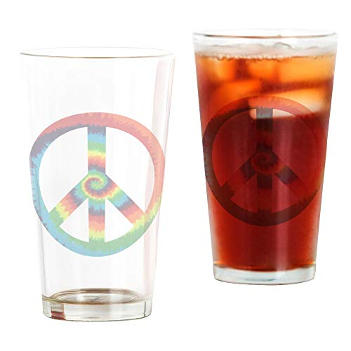 Pint Dye - Pint Drinking Glass Tye Dye Peace Symbol