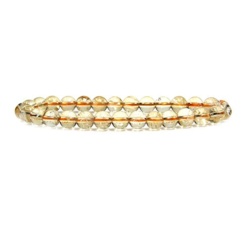 Citrine Round Charm (Natural AA Citrine Gemstone 6mm Round Beads Stretch Bracelet 7