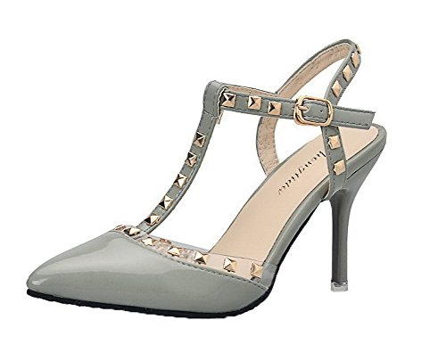 VogueZone009 Women Patent Leather Pointed Closed Toe Solid Buckle Sandals Gray