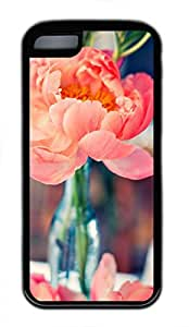 Brian114 iPhone 5C Case - Pink Peony Soft Rubber Black iPhone 5C Cover, iPhone 5C Cases, Cute iPhone 5c Case