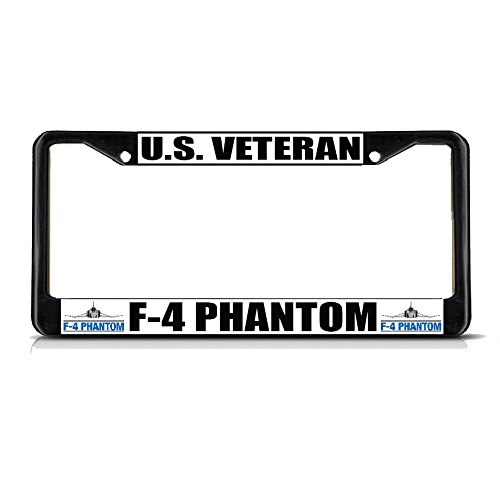 (U.S. Veteran F-4 Phantom Military Black Metal License Plate Frame Tag Border Perfect for Men Women Car garadge Decor)