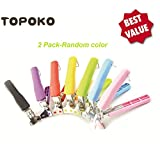 Topoko Kitchen Stainless Steel Exquisite Bowl Pot Pan Gripper Clip Hot Dish Plate Bowl Clip Retriever Tongs (Random Color 2 Pack)