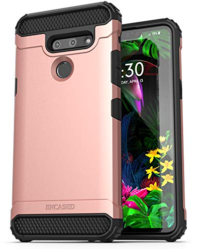 Encased Heavy Duty LG G8 ThinQ Case Rose Gold (2019 Scorpio) Military Grade Rugged Phone Protection Cover