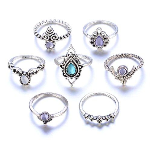 (Stackable Rings, Kimloog 7Pcs Women Bohemian Retro Knuckle Nail Midi Ring Set)