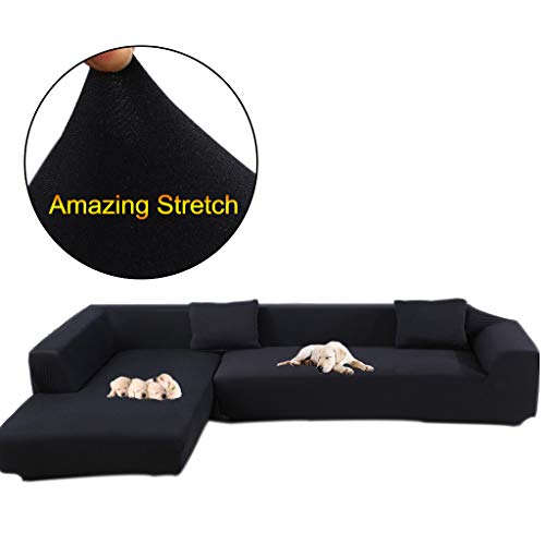 Taiyucover Anti-skid Dustproof Sofa Slipcovers ;Armchair/2-Seater/3-Seater sofa covers; Sectional Corner L-Shaped Sofa Protector (Black, L-Shaped Sofa(3-Seater sofa + 2-Seater sofa))