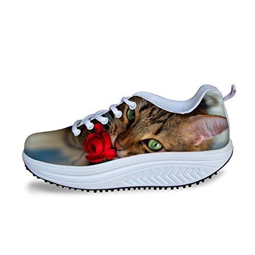 Abbracci Animali Puzzle Stampati Donne Sneakers Piattaforma Scarpe Sportive Cat 1