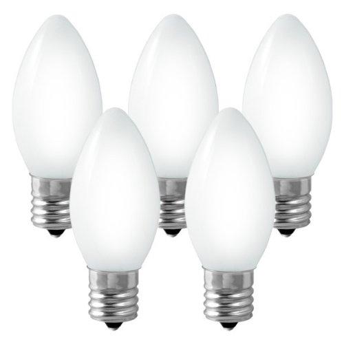 C9 - Ceramic White - 7 Watt - Intermediate Base - Christmas Lights - 25 Pack