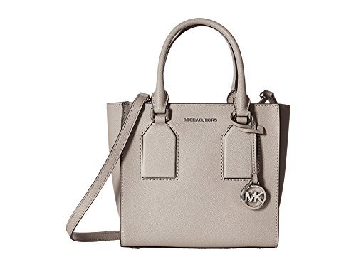 556619ac33 michael kors selby pearl grey saffiano leather medium messenger bag