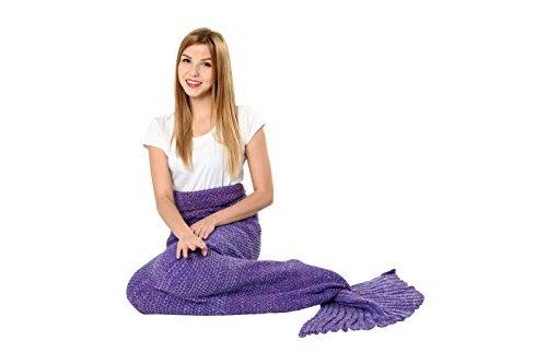 [Mermaid Tail Blanket Knit Crochet and Scale Mermaid Blanket for Adult,Sleeping Blanket (75''x31'',] (Super Deluxe Mermaid Costumes)