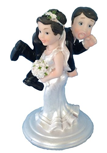 Bride and Groom Cake Top Funny Couple Bride Carrying (Groom Carrying Bride Cake Topper)