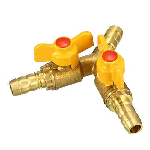 uxcell 10mm Hose Barb Y Shape Type 3 Way Brass Shut Off Ball Valve Fitting Connector