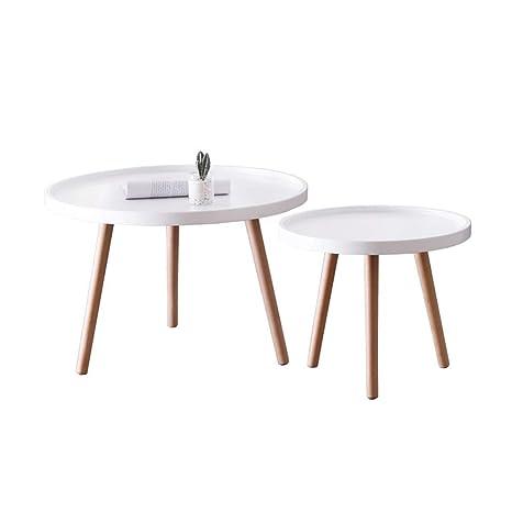 Amazon.com: Juego de 2 mesas auxiliares apilables para salón ...