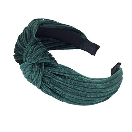 MOPOLIS Fashion Womens Girls Velvet Knotted Cross Headband Head Band Hairband Headwear | Colors - Dark green