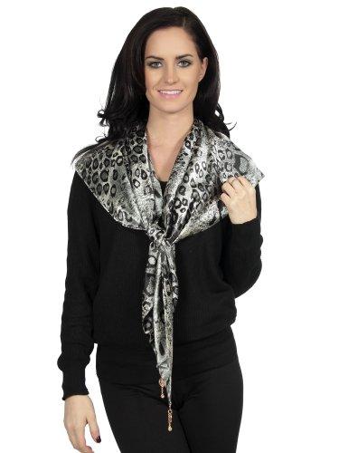 Black Leopard Scarf (Animal Print Leopard Skin Triangle Scarf Scarves Black&white)