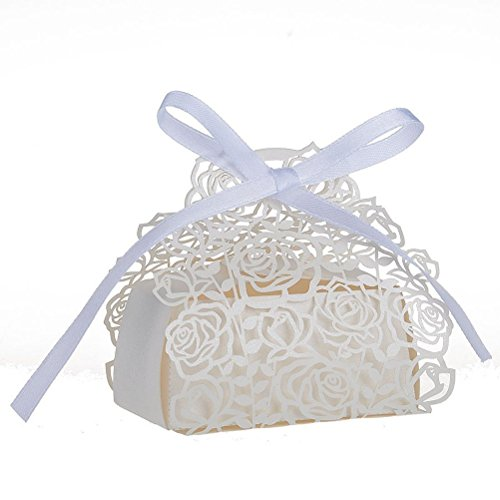 VORCOOL Favor Candy Boxes Wedding Favor Boxes Roses Flowers Laser Cut Favor Candy Box Bomboniere with Ribbons White 25 ()