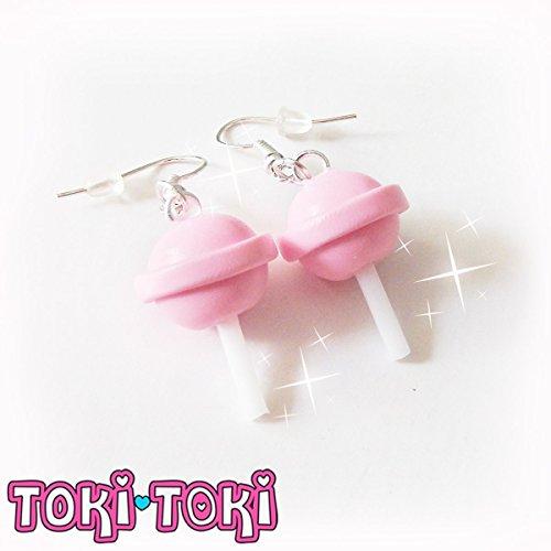 Lollipop Earrings, Pink Kawaii Earrings, Miniature Food Jewelry, Kawaii Food Earrings, Tiny Earrings -