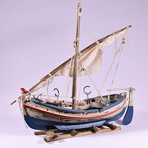 "EliteTreasures 12"" Vintage Style Collectible Old Fishing Boat Figurine - Display Wood Boat with Mast and Cloth - Rustic Nautical Ornament Decor"