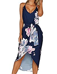 LUKYCILD Women Sleeveless V Neck Floral Print Beach Party Split Midi Dress