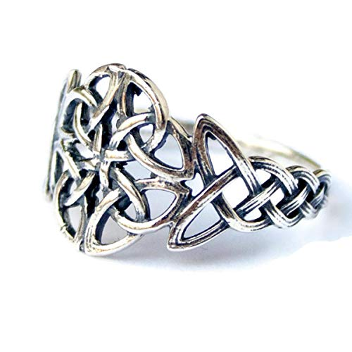 Sterling Silver Womens Celtic Trinity Knot Ring Viking Motif Norse Nordic Wiccan Jewelry Filigree Braided Irish Pattern Celtic Rings for Women Girls Handmade