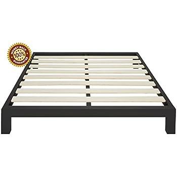 karina full metal platform bed frame black leclair with headboard modern finish thick wide slats