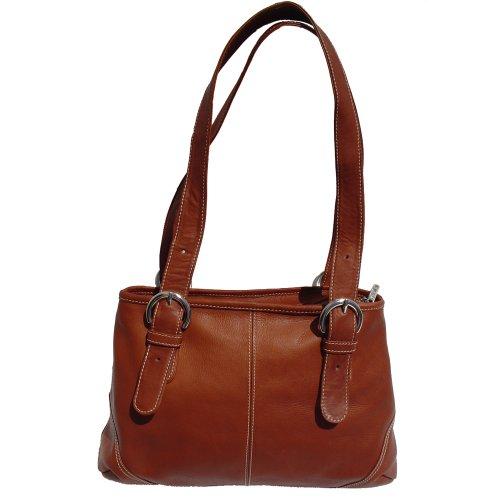 (Piel Leather Medium Buckle Handbag, Saddle, One)