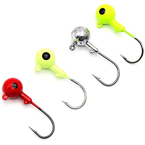 Z&S 50 Pack Glow Jig Hooks with Single Hooks Mixed Color Lead Head Fishing Jig Hooks for Soft Worm Shrimp Lures Fishing Tackle Kit 1g 3.5g 5g 7g 10g (5g) (Lead Head)