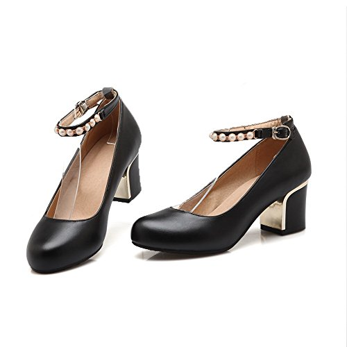 VogueZone009 Women's Soft Material Round Closed Toe Kitten-Heels Buckle Solid Pumps-Shoes Black Be0JiEc