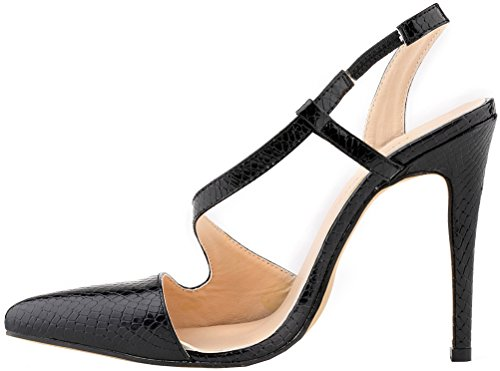 CFP YSE-302-15XEY Womens Wedding Business Cozy Slim High-heeled Slip On Charming Bright Leisure Party Stiletto Adjustable Pointy Toe Crocodile Skin PU Shoes Popular Slingback Black RIscWFpBe