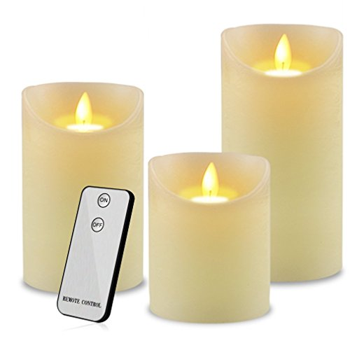 Led Flameless Candles, Set of 3 Ivory Wax Moving Flame Flickering Luxury Candle Gift with Timer Dimmable Battery Operated Light by Y YUEGANG