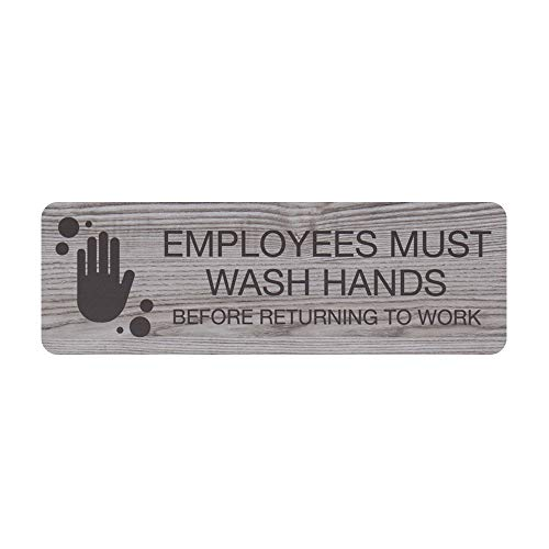 """Employees Must Wash Hands Indoor Easy Adhesive Mount Door and Wall Sign for Restaraunts and Small Businesses 3"""" x 9"""" - Ash Grey"""