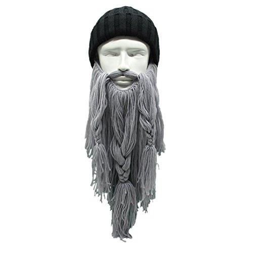 MerryJuly Men's Head Barbarian Vagabond Beanie Original Foldaway Beard Hats Viking Horns Bearded Caps (Beanie Hat &Grey (Mens Barbarian Wig)