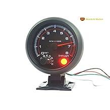 MORTCH 3.75inch (95.25mm) Black Shell White Light LED Tachometer Gauge Meter RPM