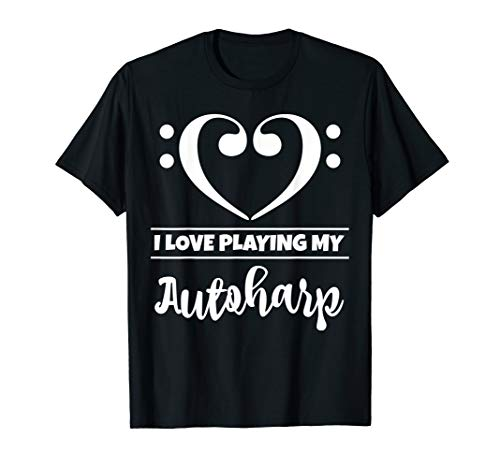 Bass Clef Musical Heart I Love Playing My Autoharp Musician T-Shirt