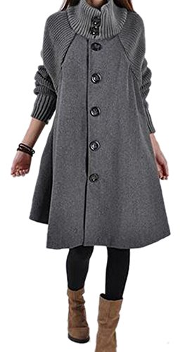 Feeson Womens Single-Breasted Stand Collar Classic Trench Coat Red – M-Bust 40.8″, Grey