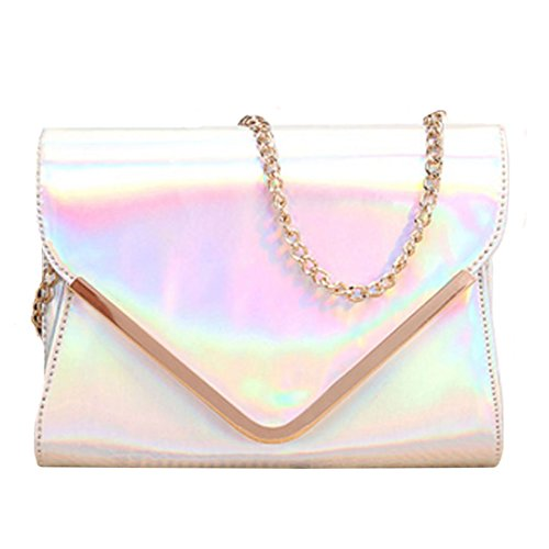 Price comparison product image Monique Girls Women Holographic PU Leather Sling Bag Cross-body Bag for School Shopping Travel Silver