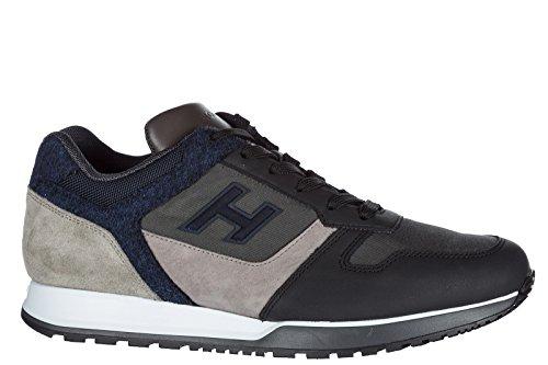 Hogan Uomo Scarpe Sneakers In Pelle Da Ginnastica H321 H Flock Nero