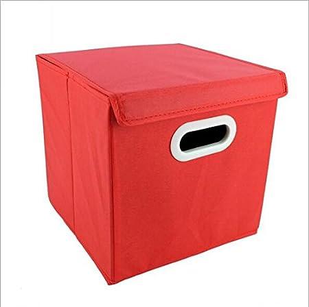 fendii plegable caja de almacenaje cubo papelera de cesta de fieltro. 28 x 28 x 28 cm), color rojo, Rojo, small: Amazon.es: Hogar