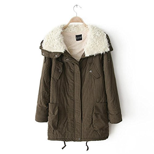 DYF Pocket Green Medium Zipper sleeve Lapel Military length Thickened Coat Jacket Long rwrBAp