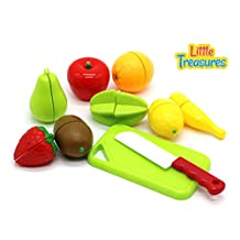 Little Treasures Play Chopping Kitchen toy - colorful cutting food playset includes easy to cut apple, kiwi, grapefruit, lemon, banana, pear, strawberry all fastened by Velcro for easy slicing