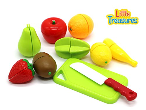 Little Treasures Play Chopping Kitchen toy colorful cutting food playset includes easy to cut apple, kiwi, grapefruit, lemon, banana, pear, strawberry Fasten and reattach easily for easy slicing