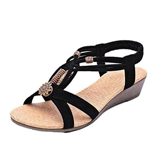 Femme Sandales Noir Sandales Bovake à Vintage Plate Boucle Chaussures Casual Roman d'été dHxfxO