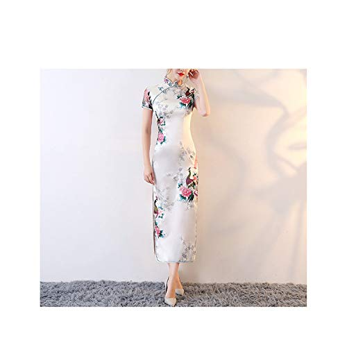 Habitaen Long Style Peacock Pattern Embroidery Silk Chinese Cheongsams Dress Spring Festival Wedding Dress