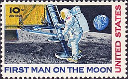 Single 1969 US Airmail Postage Stamp, First Man On The Moon, S# C76 - Us Postage Stamps Air Mail