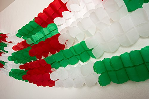 Paper Full of Wishes I Tricolor Four-Leaf Clover Garland I 3 Meters Long I 5 Garlands Included I Red, White, Green Tissue Garlands I Tricolor Garland Craft -